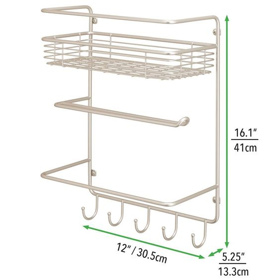 Metal Wall Mount Paper Towel Holder And Storage Center 4 Tier In