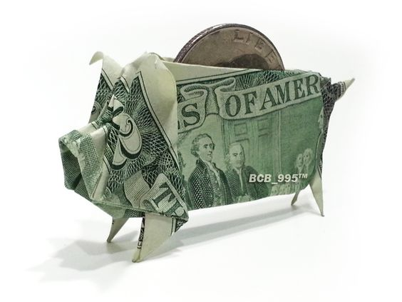 $2 Bill Piggy Bank - Money Origami: