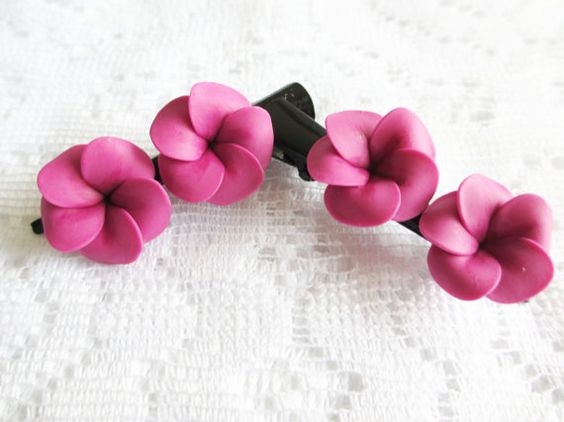 Pair of Purple Plumerias with Black Hair Clips by Accessinity