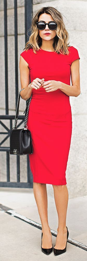 Shop this look on Lookastic: https://lookastic.com/women/looks/red-bodycon-dress-black-pumps-black-crossbody-bag-black-sunglasses/11959 — Black Sunglasses — Black Leather Pumps — Black Quilted Leather Crossbody Bag — Red Bodycon Dress: