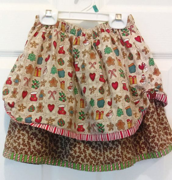 Vintage Girl Christmas skirt with Ginger by GenesisVintageShop