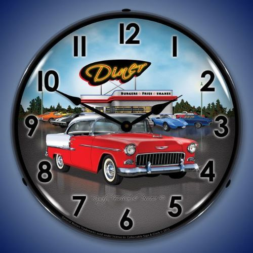 1955 Bel Air Diner Led Lighted Wall Clock 14 X 14 Inches With Images Wall Clock Light Wall Clock Clock