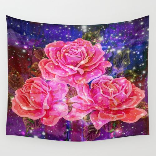 Roses with sparkles and purple infusion Wall Tapestry by Zenya Zenyaris | Society6