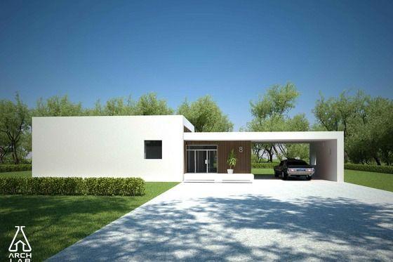 Plano de casa moderna, linda y sencilla, de 3 dormitorios