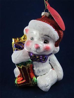 2012 Radko Sparkle Bright Christmas Teddy Bear w/Stocking Glass Ornament NWT