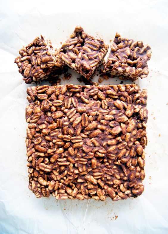 Occasionally Eggs: Peanut Butter Puffed Wheat Squares (Vegan, Refined Sugar-free)