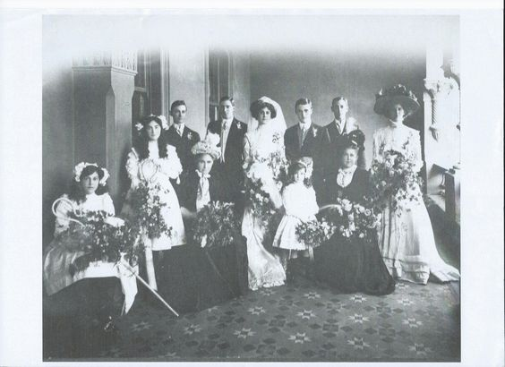 Marriage of Joseph T Timms, jnr. Grandmother Jane Dugmore Timms seated fourth left.