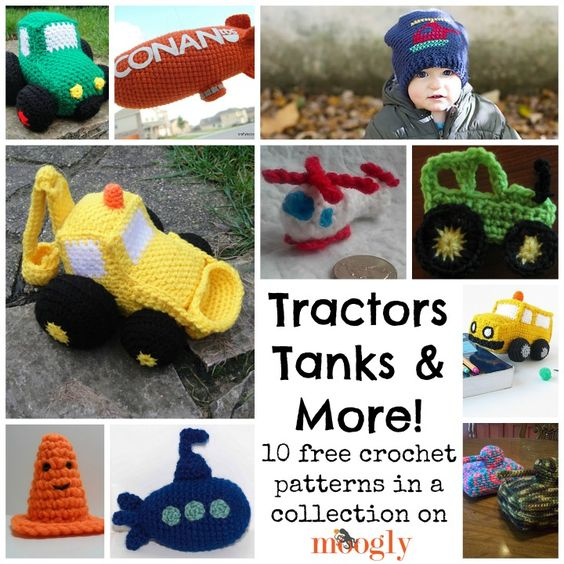 Buses, tractors, diggers, helicopters, and more! Vehicles galore!! ♥ Check out these FREE crochet patterns: