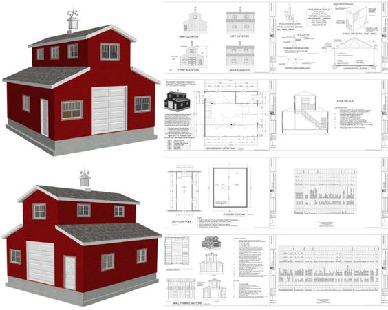 Barn plans pole barn designs and gambrel barn on pinterest for Small monitor barn