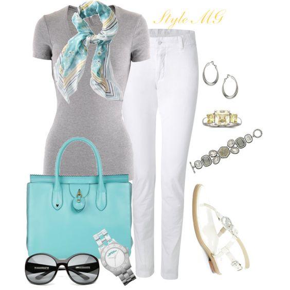 Summer gray and turquoise.