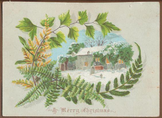 C9403 Victorian Xmas Card: Scene & Ferns   eBay