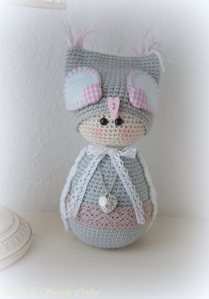 "✣ Eule ""Grey Shabby Chic"", gehäkelt ✣ von ✣  Smoozly Crochet ✣ auf DaWanda.com"