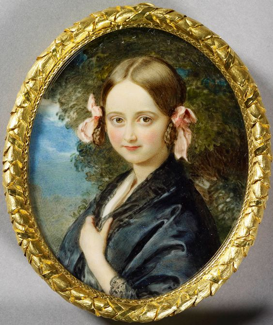 Watercolour on ivory laid on card by Sir William Ross,1840.  Princess Elise Adelheid Viktoria Amalie of Hohenlohe-Langenburg (1830--1850). Princess Elise died of tuberculosis at the age of 19; Queen Victoria sent the girl's grieving mother {Princess Feodora] a copy of this miniature. [See Feodora's portrait on 'Ladies & Gents' board]