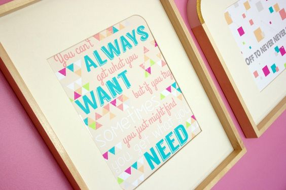 Rock 'n Roll Lyrics framed for the nursery - we love this for a gallery wall! #nursery #wallart