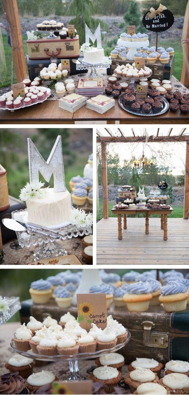 Hermosa mesa de postres para una boda de jardín! =D