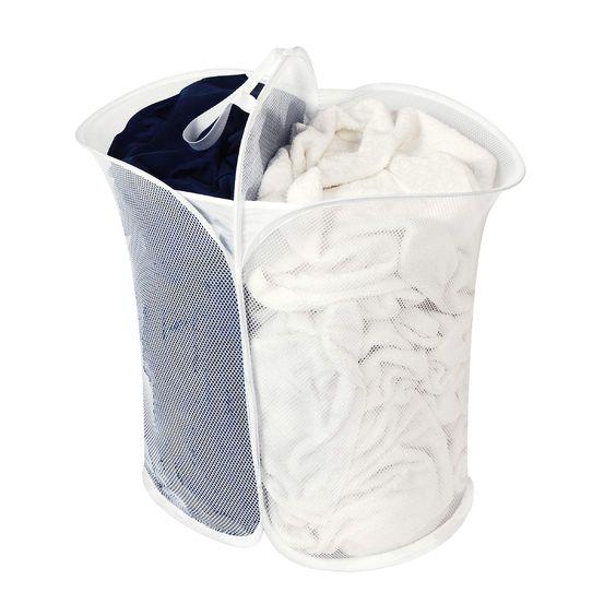 Smart Design Mesh Pop Up 2 Compartment Laundry Sorter Hamper W