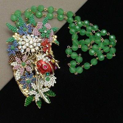 Stanley Hagler Ladybug in a Garden Necklace Ornate Opulent Vintage