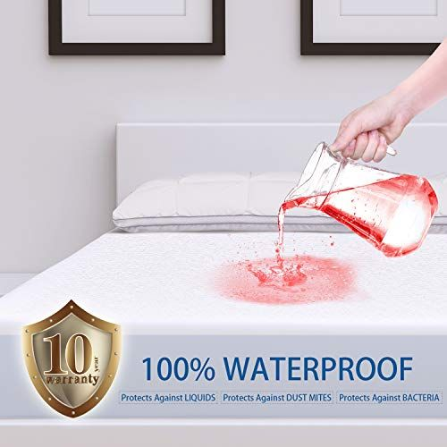 """Bamboo Mattress Cover Fitted Bed Protector Pad Topper 14/"""" King Queen Waterproof"""