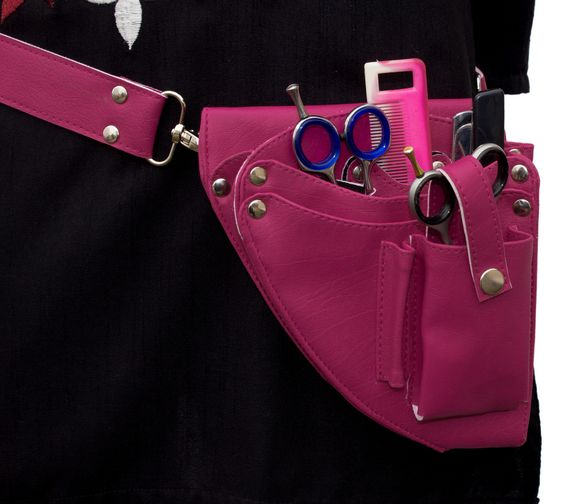 Spa Salon hairdressing Stylist Tool belt holster Pouch Synthetic Leather Magenta | eBay
