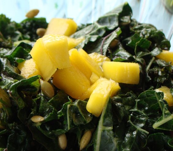 Kale is an excellent source of fiber, vitamin A, C and K, and manganese. It is also a good source of calcium, potassium and B vitamins and all for only 34 calories per raw chopped cup. In this raw summer Mango Mint Kale Salad we balance the bitter notes of the leafy green with the sweet mango and lime juice.
