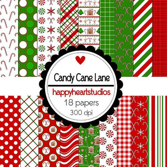 Digital Scrapbooking CandyCaneLane by azredhead on Etsy, $2.00