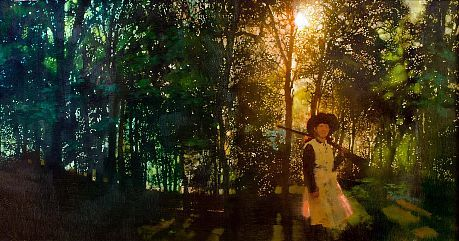 Bernie Fuchs   Annie in the Woods, 1996   oil on linen  21 1/2 x 41 1/2 inches
