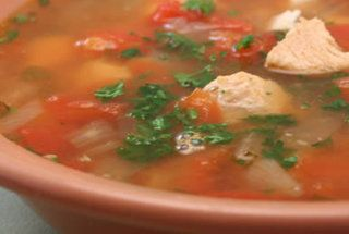 CrockPot Chicken Soup with Garbanzos and Oregano