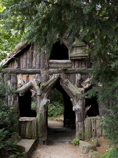 Bark house in a German public garden,,