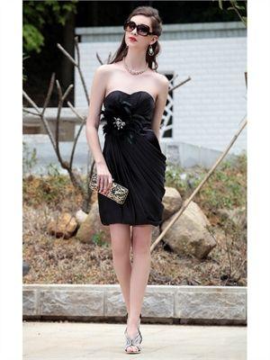 Mini Short chiffon black Prom Dresses PSD0027