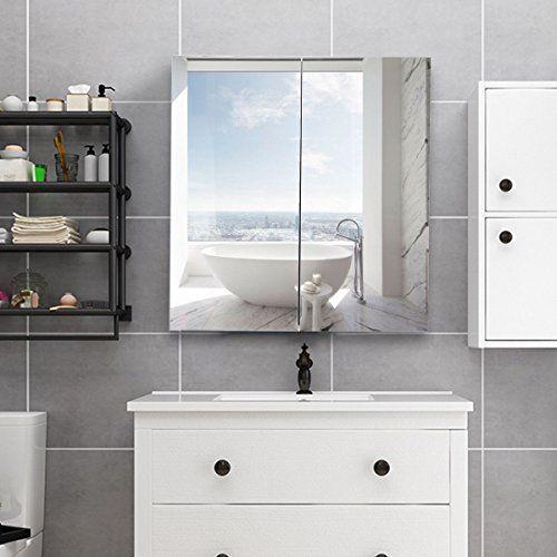 Tangkula Bathroom Cabinet Wall Mounted Mirrored Home Bathroom Kitchen Two Door Storage Frameless Multi Mirror Cabinets Bathroom Mirror Cabinet Stylish Bathroom