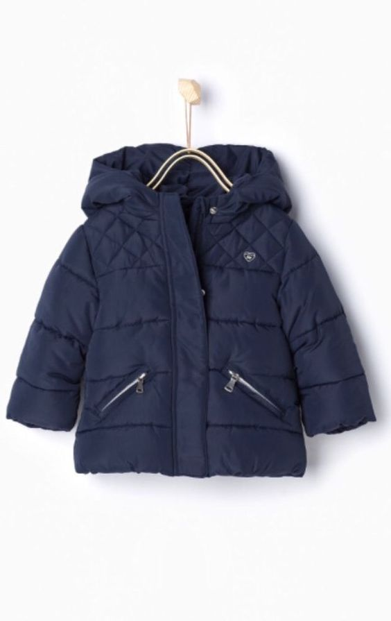 Zara Infant Girl Navy Blue Quilted Jacket with Hood Size 3 6 Months | eBay