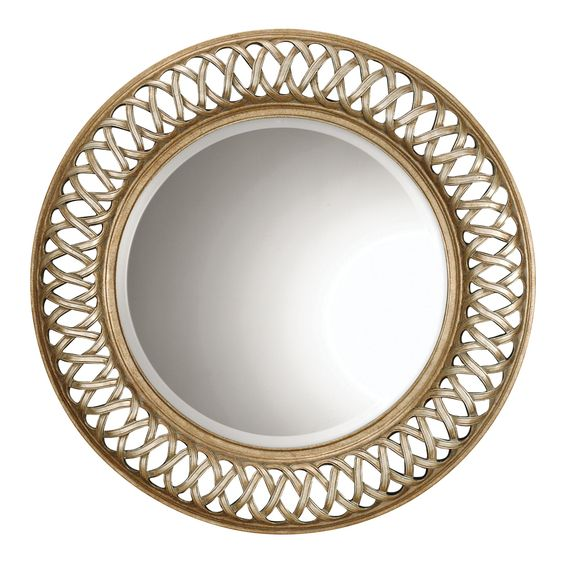 Global Direct 45-in x 45-in Scratched Silver with Heavily Antiqued Inner and Outer Rims Beveled Round Framed French Wall Mirror