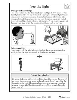 Printables Properties Of Light Worksheet activities lights and worksheets on pinterest how light sources help us see greatschools