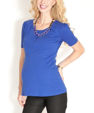 Take a look at this Blue Maternity Scoop Neck Top by Madeleine Maternity on #zulily today!