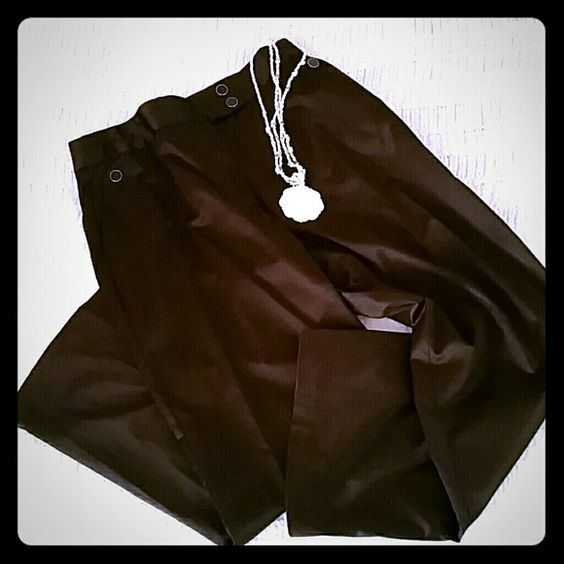 """Women's Harvey  Benard wide leg dress pants. Deep Chocolate Brown in color, 2"""" wide waist band that lies smoothly on hips.  Placket zipper front, embellished side pockets   in front & line pockets in back.   Stretch satin. ( These slacks have been hemmed to a  29"""" inseam). Worn twice. Clean & in excellent condition! Harve Benard Pants Wide Leg"""