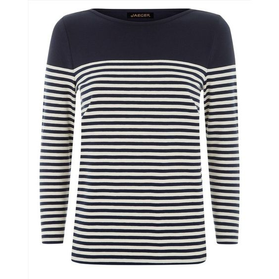 Jaeger Jaeger Breton Stripe Top (£25) ❤ liked on Polyvore featuring tops, white long sleeve top, stretchy tops, form fitting tops, long sleeve tops and breton top