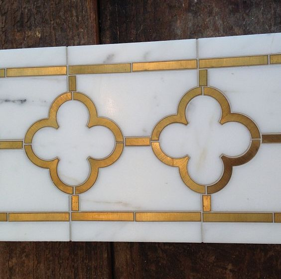 Marble Floor Marquetry : Brass inlay tile liner pinterest marbles