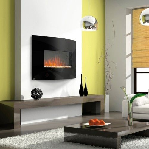 Napoleon curved wall mount electric fireplace if i built a house pinterest fire glass for Electric wall fireplace bedroom
