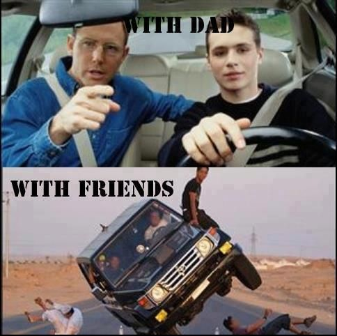 Driving With Dad Vs With Friends Funny Photo Funny Photos Friends Funny Funny Pictures