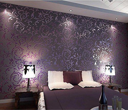 Purple Modern Embossed Wall Paper Roll For Living Room Bedroom Tv Background Purple Wallpaper Bedroom Wallpaper Living Room Wallpaper Bedroom