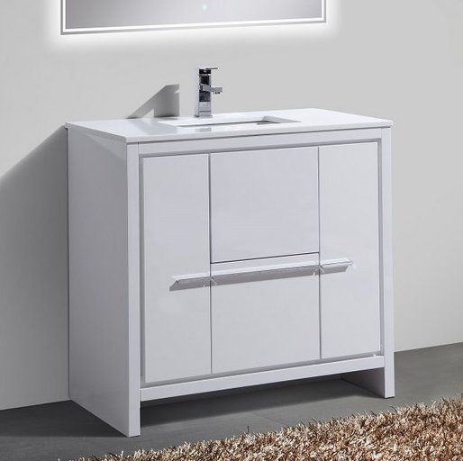Eviva Aberdeen 36 In W X 22 In D X 35 In H Vanity In White With Carrara Marble Vanity Top In White With White Basin Evvn412 36wh Modern White Bathroom Marble