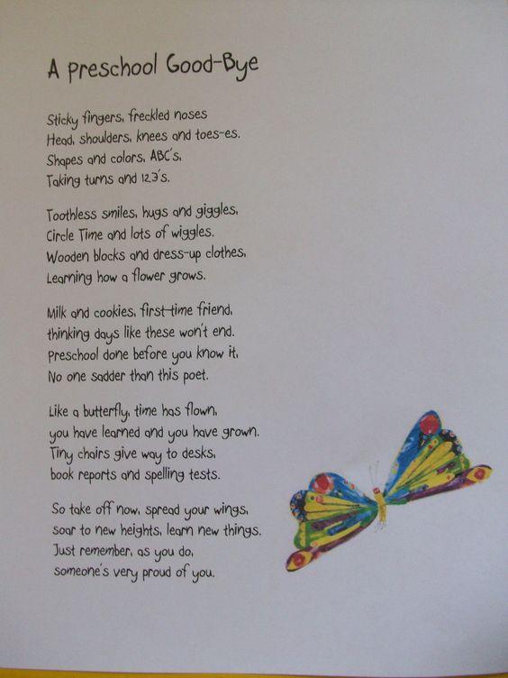 """A Preschool Good-Bye"" Poem I will read at Graduation.. I"