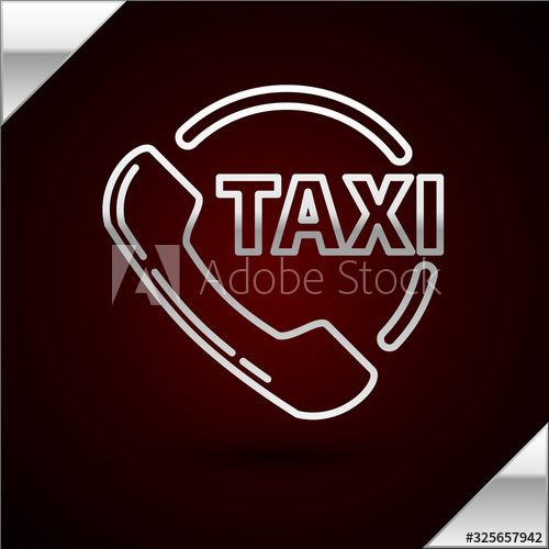 Silver Line Taxi Call Telephone Service Icon Isolated On Dark Red