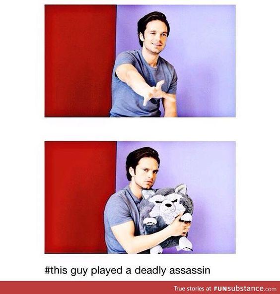 Such a scary assassin o.o <- Terrifying. <- everybody, go hide #Avengers cast #CivilWar #SebastianStan