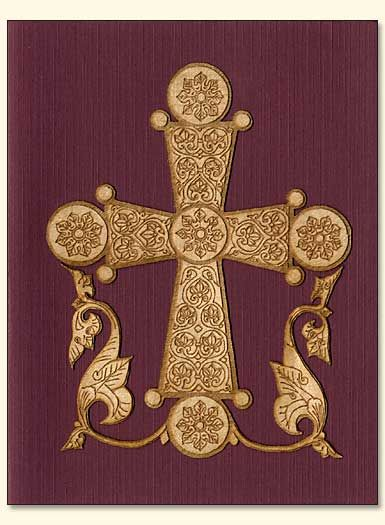 byzantine cross | Byzantine Cross and Flowers Wood Veneer Card