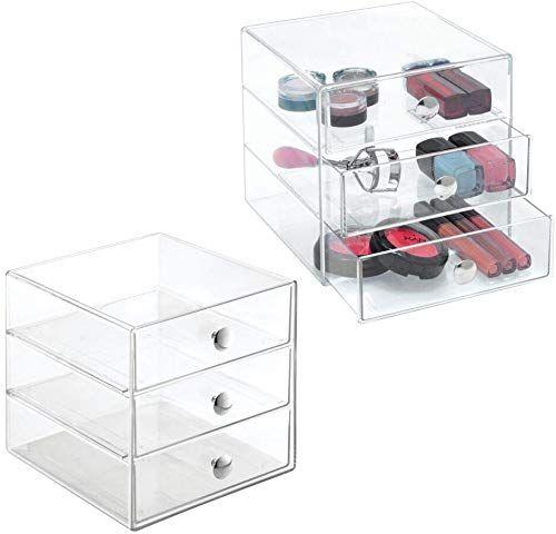 New Mdesign Plastic Makeup Organizer Storage Station Cube With 3 Drawers For Bathroom Va Plastic Makeup Storage Makeup Storage Organization Makeup Organization