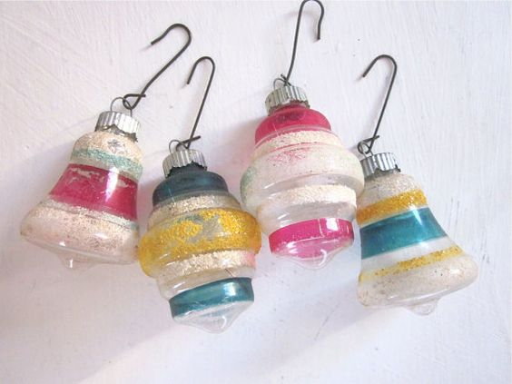 Four Vintage Glass Ornaments  Unsilvered with Mica   by Fishlegs, $29.00