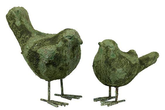 Urban Trends Collection Stoneware Birds Set of 2 Moss Finish UTC76065