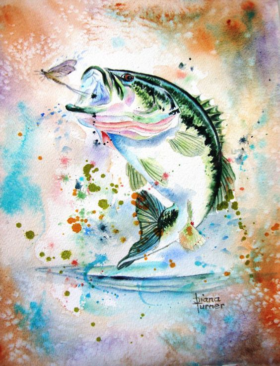 Fish bass watercolor painting original watercolor for Bass fish painting