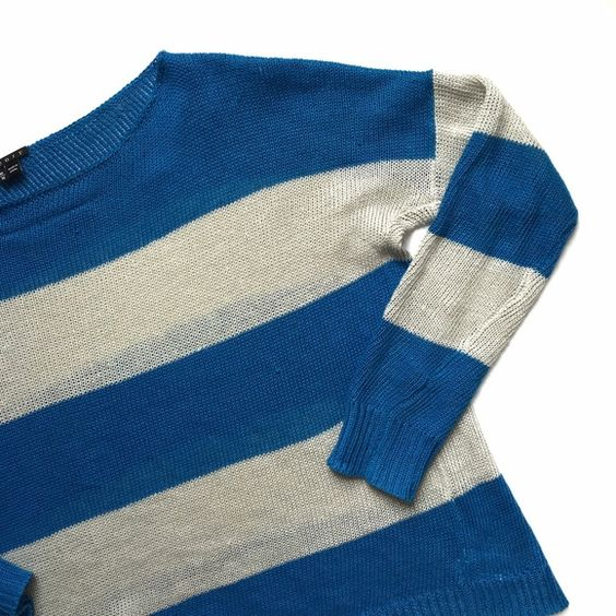 Theory Bright Blue & Gray Striped Sweater Sz Med ❌NO TRADES❌  - Theory Bright Blue & Gray Striped Sweater Sz Medium  - Bright Blue & Gray Boatneck Loose Knit Sweater  - 100% Linen; unlined  - Used condition. Pulls throughout front, back arms (see photos) Theory Sweaters